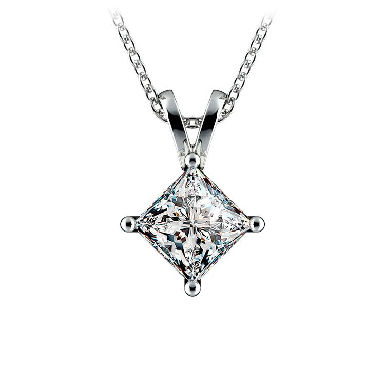 Princess Diamond Solitaire Pendant in Platinum (1 1/2 ctw)  | 01