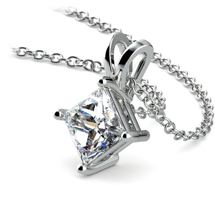 Princess Diamond Solitaire Pendant in Platinum (1 1/2 ctw)  | 03