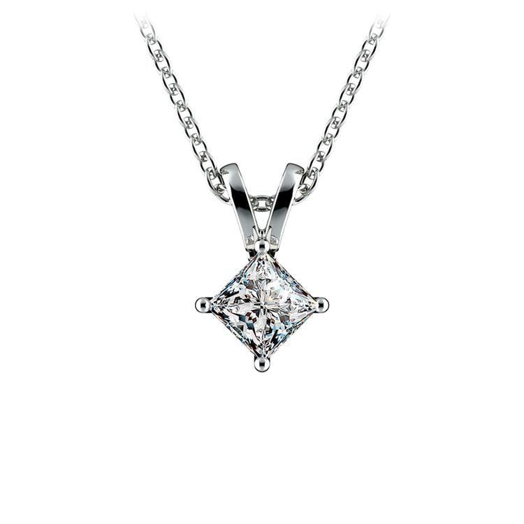 Princess Diamond Solitaire Pendant in Platinum (1/4 ctw)  | 01