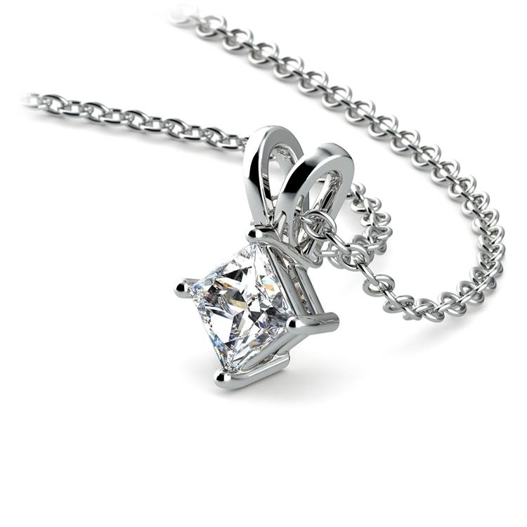 Princess Diamond Solitaire Pendant in Platinum (1/5 ctw)  | 03
