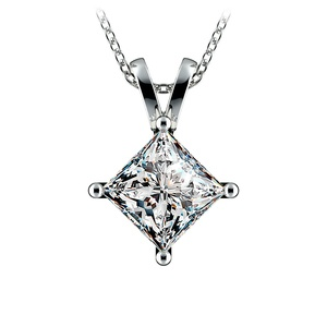 Princess Diamond Solitaire Pendant in Platinum (3 ctw)