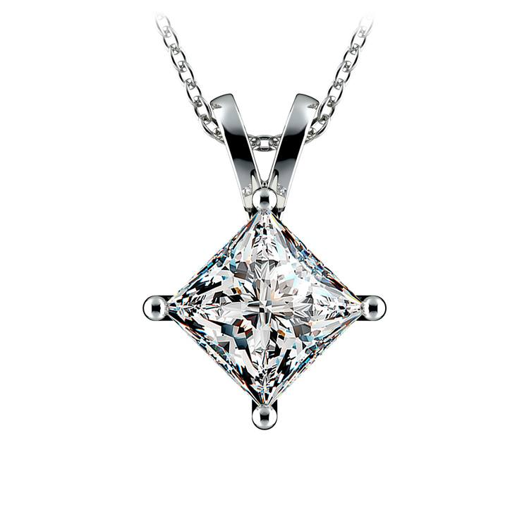 Princess Diamond Solitaire Pendant in Platinum (3 ctw)  | 01