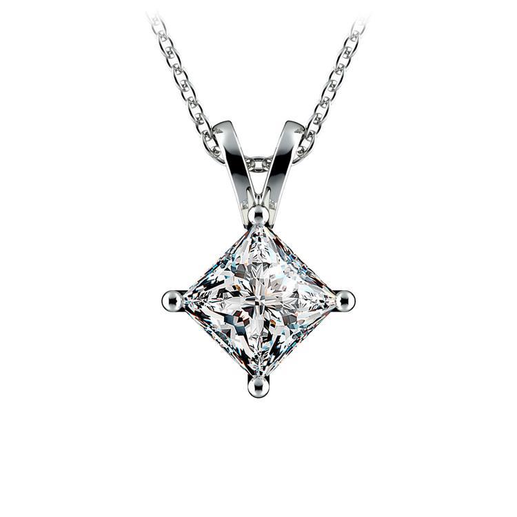 Princess Diamond Solitaire Pendant in White Gold (1 1/2 ctw)  | 01