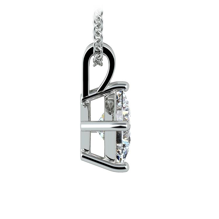 Princess Diamond Solitaire Pendant in White Gold (1 1/2 ctw)  | 02