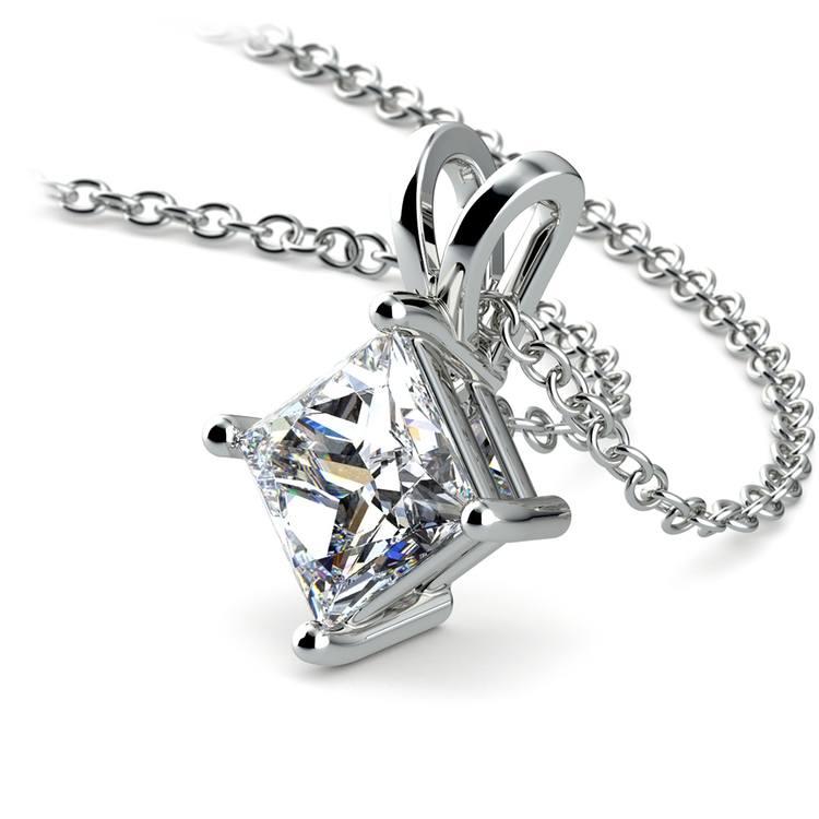Princess Diamond Solitaire Pendant in White Gold (1 1/2 ctw)  | 03