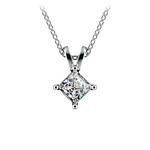 Princess Diamond Solitaire Pendant in White Gold (1/2 ctw)  | Thumbnail 01