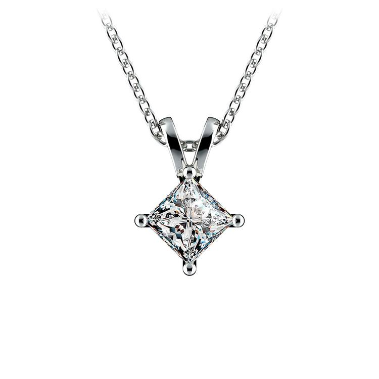 Princess Diamond Solitaire Pendant in White Gold (1/2 ctw)  | 01