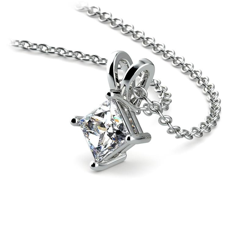 Princess Diamond Solitaire Pendant in White Gold (1/2 ctw)  | 03