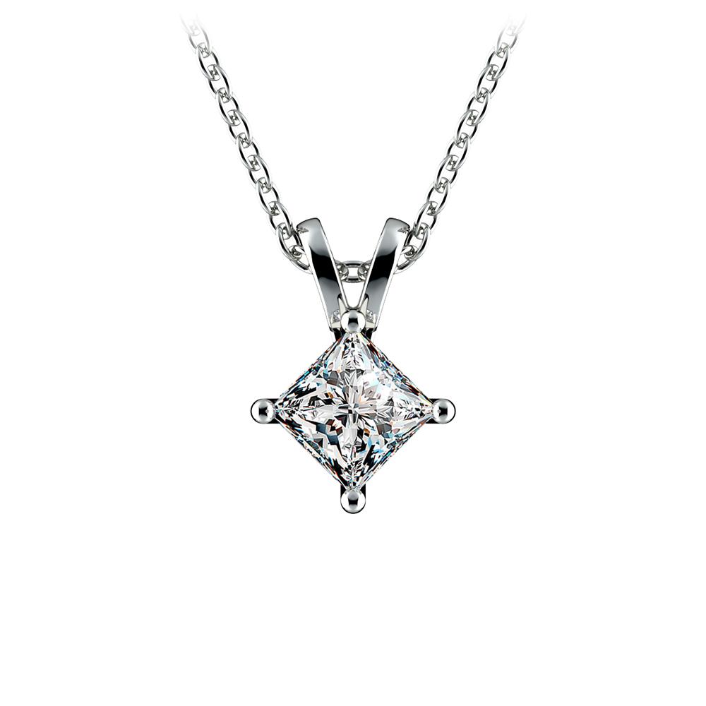 Princess Diamond Solitaire Pendant In White Gold 1 2 Ctw