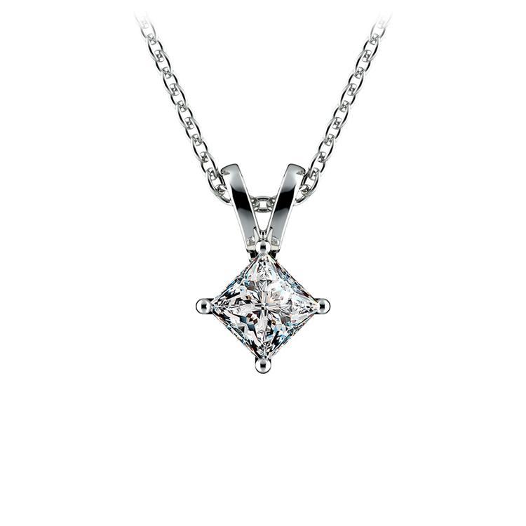 Princess Diamond Solitaire Pendant in White Gold (1/3 ctw)  | 01