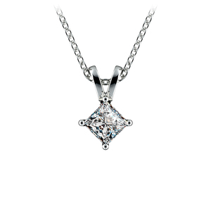Princess Diamond Solitaire Pendant in White Gold (1/4 ctw)