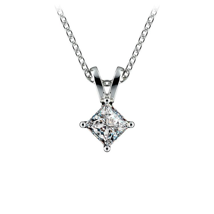 Princess Diamond Solitaire Pendant in White Gold (1/5 ctw)  | 01