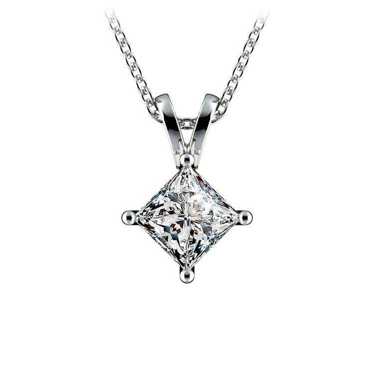 Princess Diamond Solitaire Pendant in White Gold (1 ctw)  | 01
