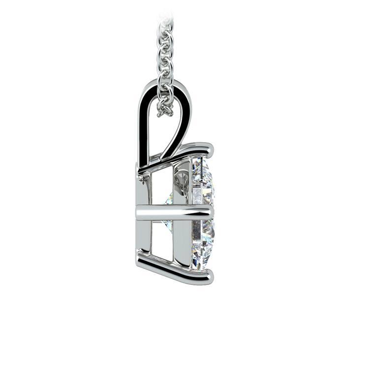 Princess Diamond Solitaire Pendant in White Gold (1 ctw)  | 02