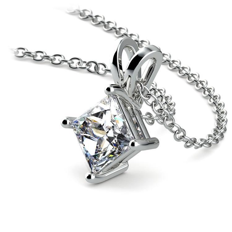Princess Diamond Solitaire Pendant in White Gold (1 ctw)  | 03