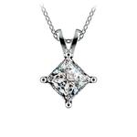 Princess Diamond Solitaire Pendant in White Gold (2 ctw)  | Thumbnail 01