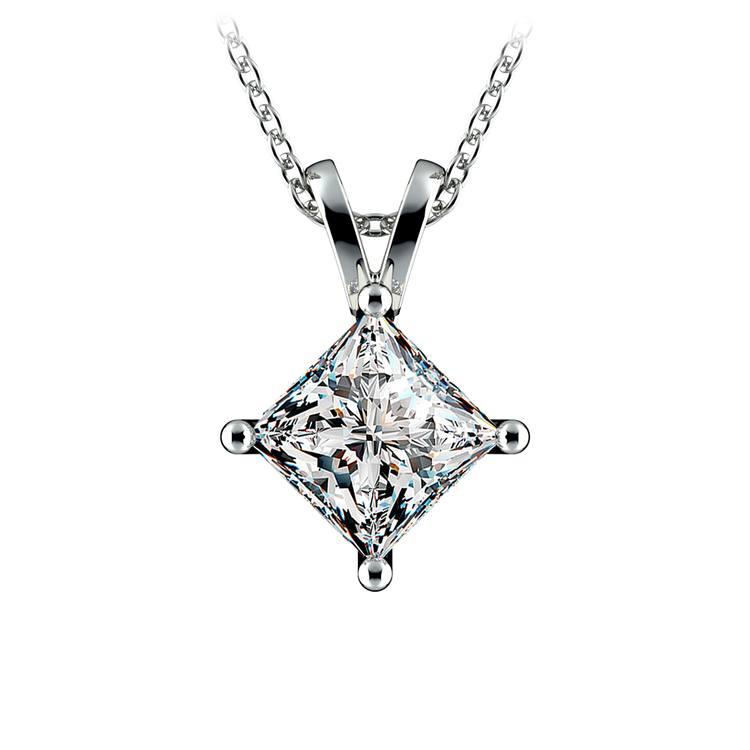 Princess Diamond Solitaire Pendant in White Gold (2 ctw)  | 01