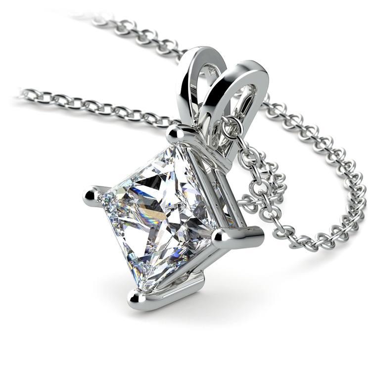Princess Diamond Solitaire Pendant in White Gold (2 ctw)  | 03