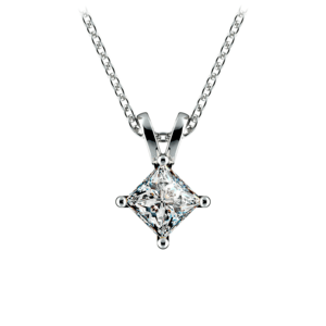 Princess Diamond Solitaire Pendant in White Gold (3/4 ctw)