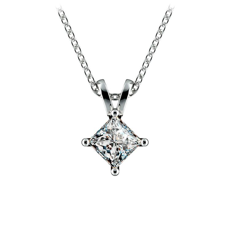 Princess Diamond Solitaire Pendant in White Gold (3/4 ctw)  | 01