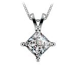 Princess Diamond Solitaire Pendant in White Gold (3 ctw)  | Thumbnail 01