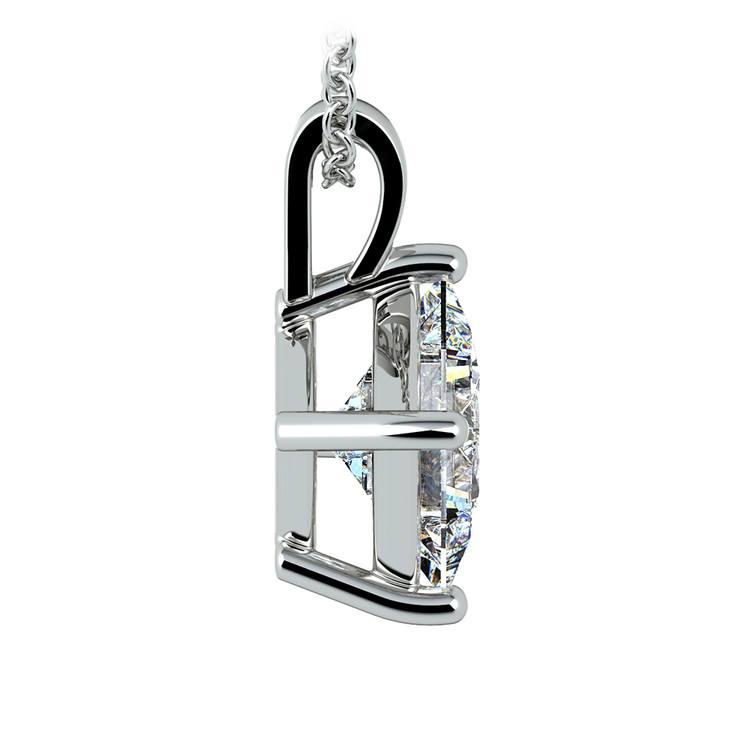 Princess Diamond Solitaire Pendant in White Gold (3 ctw)  | 02