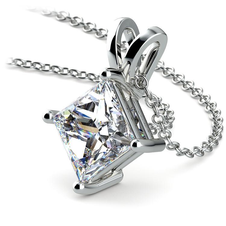 Princess Diamond Solitaire Pendant in White Gold (3 ctw)  | 03