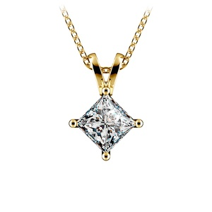 Princess Diamond Solitaire Pendant in Yellow Gold (1 ctw)