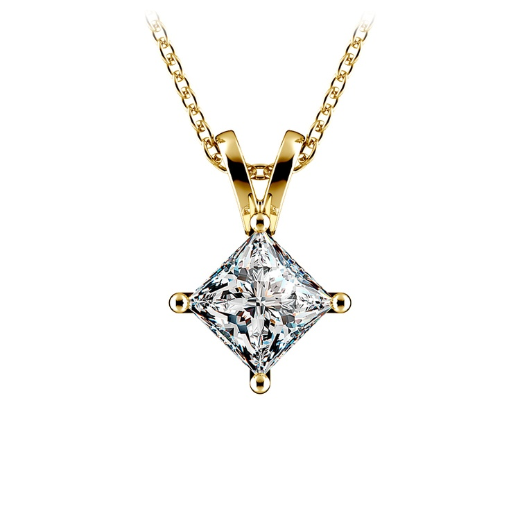 Princess Diamond Solitaire Pendant in Yellow Gold (1 ctw)  | 01