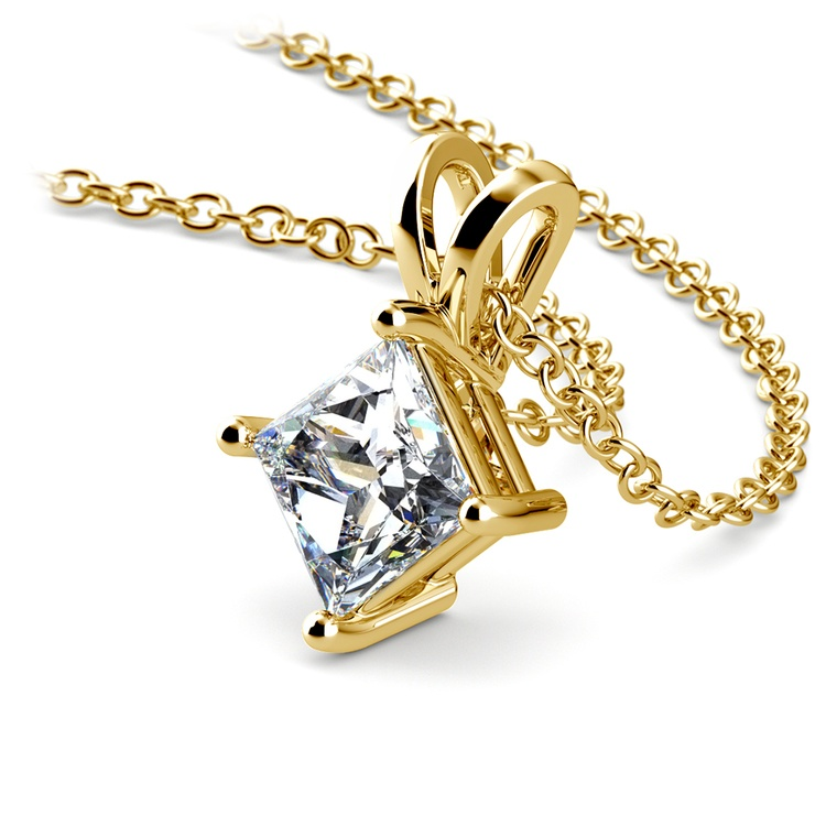 Princess Diamond Solitaire Pendant in Yellow Gold (1 ctw)  | 03