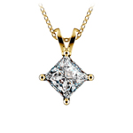 Princess Diamond Solitaire Pendant in Yellow Gold (2 ctw)  | Thumbnail 01