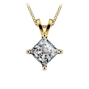 Princess Diamond Solitaire Pendant in Yellow Gold (2 ctw)