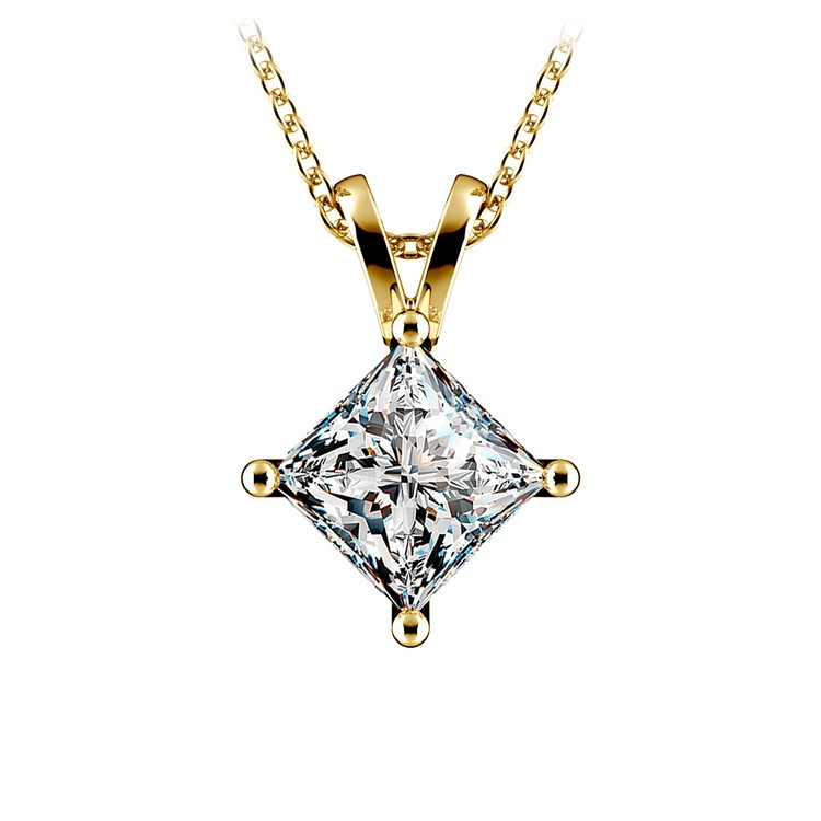 Princess Diamond Solitaire Pendant in Yellow Gold (2 ctw)  | 01