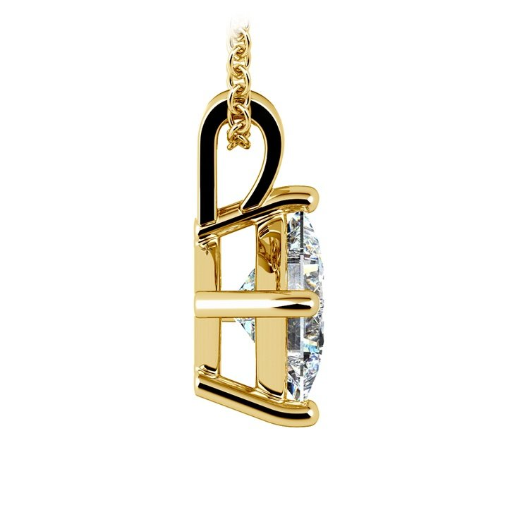Princess Diamond Solitaire Pendant in Yellow Gold (2 ctw)  | 02