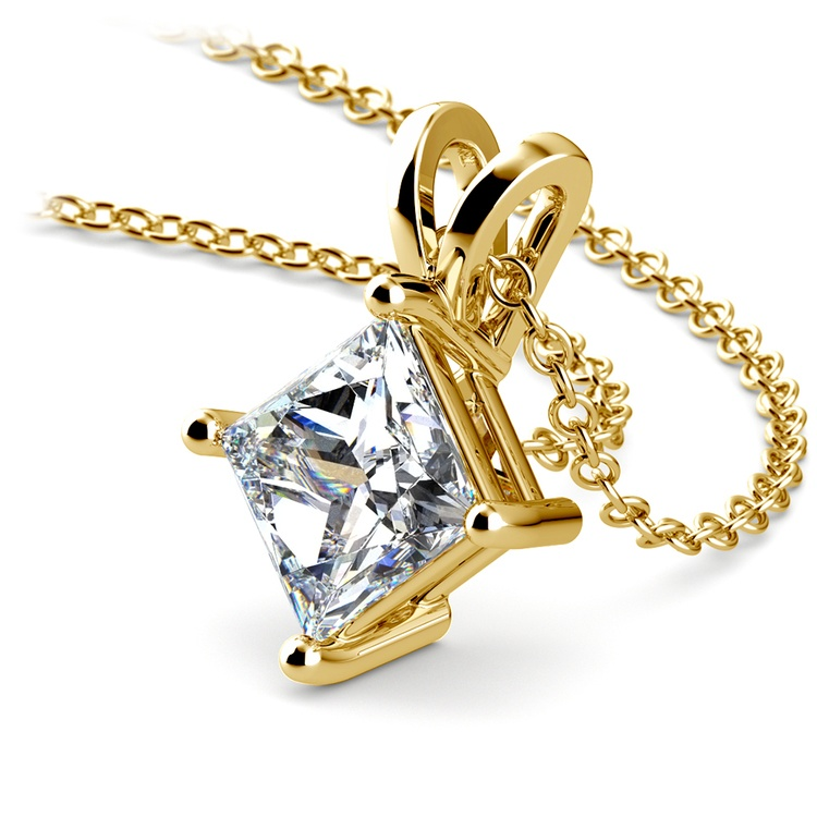 Princess Diamond Solitaire Pendant in Yellow Gold (2 ctw)  | 03