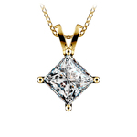 Princess Diamond Solitaire Pendant in Yellow Gold (3 ctw)  | Thumbnail 01