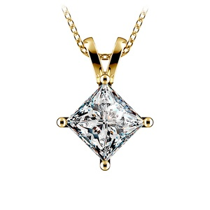 Princess Diamond Solitaire Pendant in Yellow Gold (3 ctw)