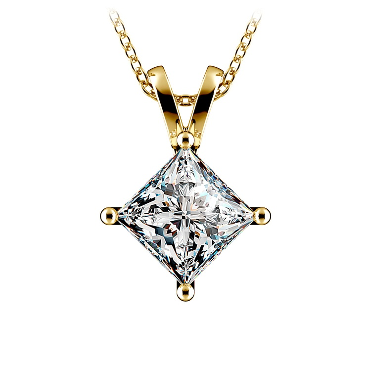 Princess Diamond Solitaire Pendant in Yellow Gold (3 ctw)  | 01