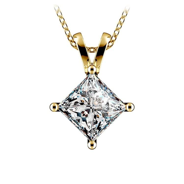 Princess Diamond Solitaire Pendant in Yellow Gold (3 ctw)  | 01