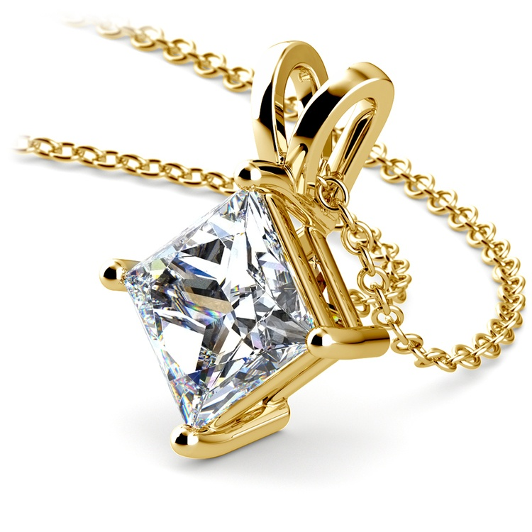Princess Diamond Solitaire Pendant in Yellow Gold (3 ctw)  | 03