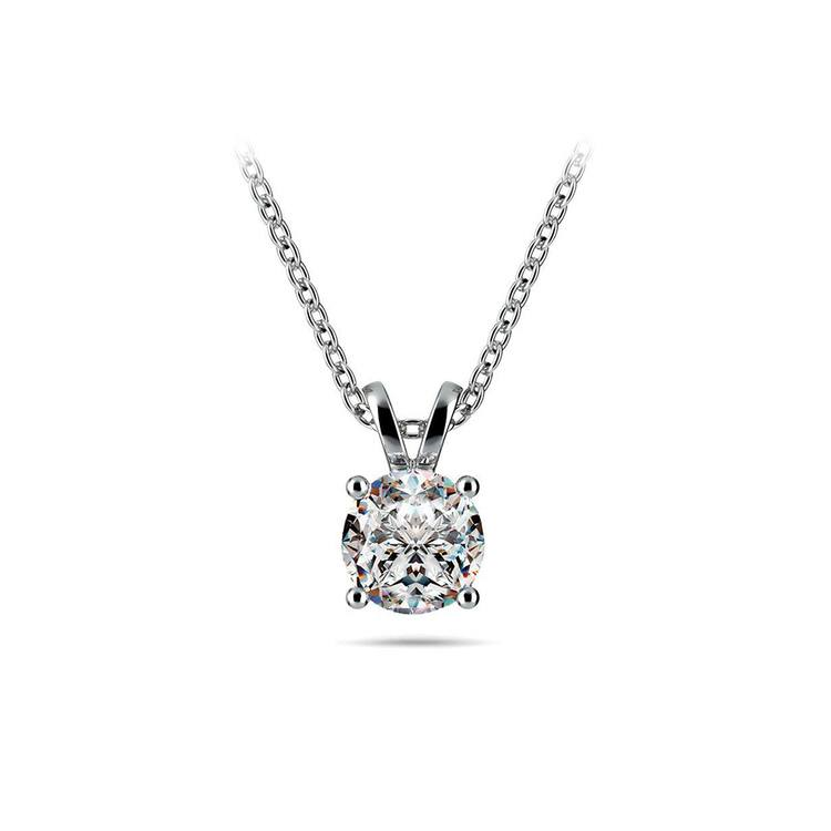 Round Diamond Solitaire Necklace In White Gold (3/4 Ctw) | 01