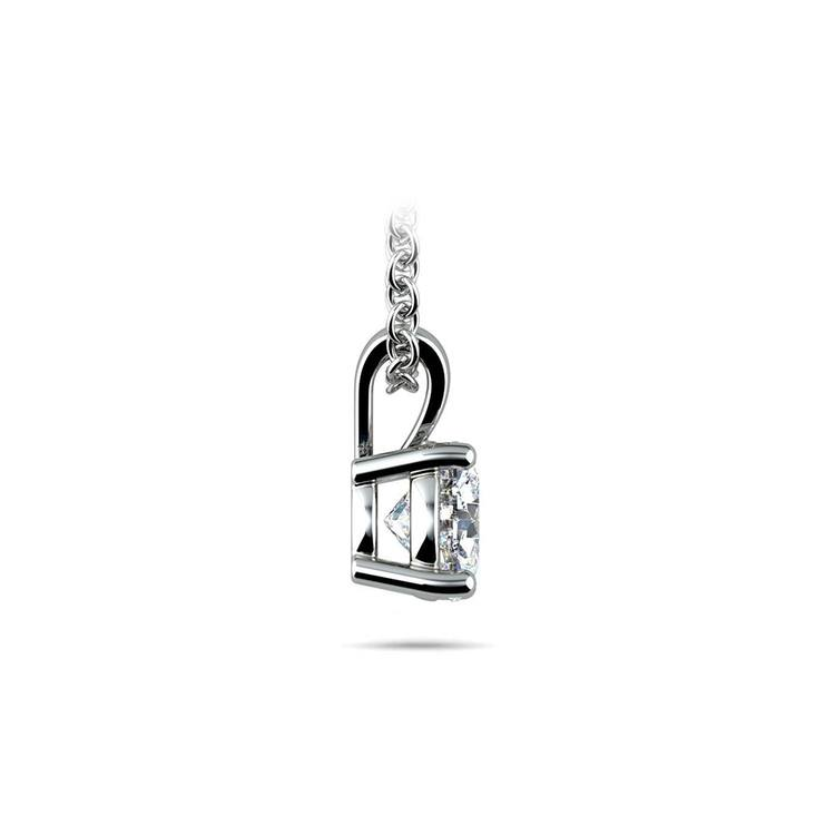 Round Diamond Solitaire Necklace In White Gold (3/4 Ctw) | 02