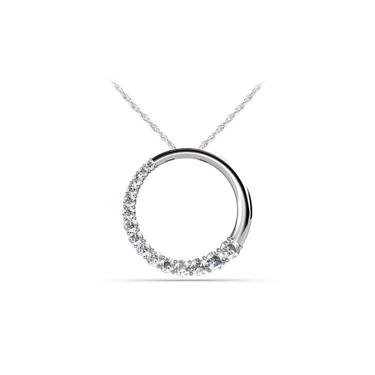 Round Journey Diamond Pendant in White Gold (1 ctw) | 01