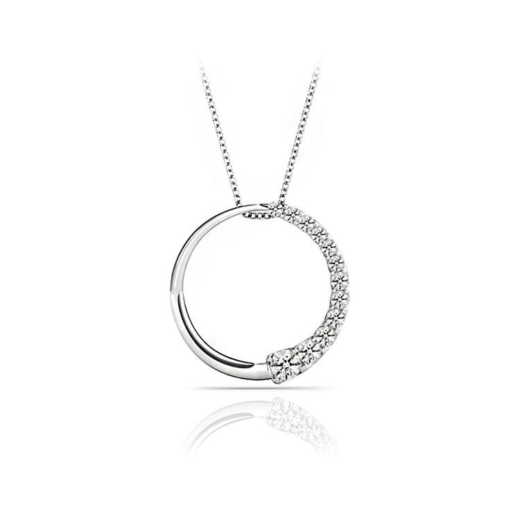 Round Journey Diamond Pendant in White Gold (1/2 ctw) | 01