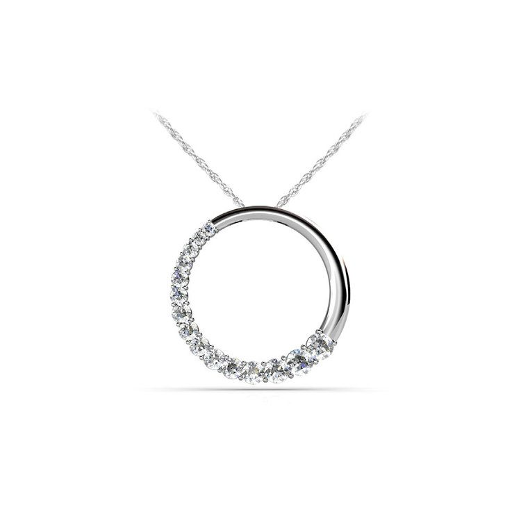 Round Journey Diamond Pendant in White Gold (1/2 ctw) | 01