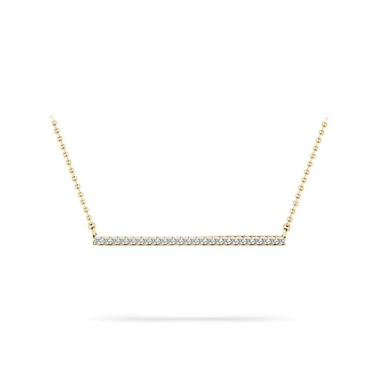 Single Row Bar Diamond Necklace In Gold | 01