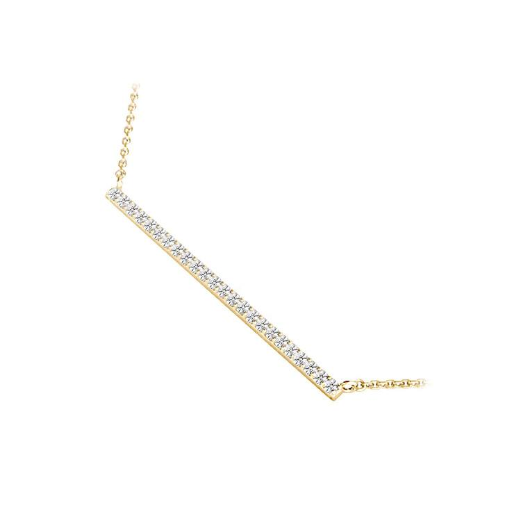 Single Row Bar Diamond Necklace In Gold | 02