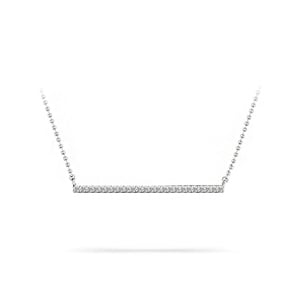 Single Row Bar Diamond Necklace In White Gold