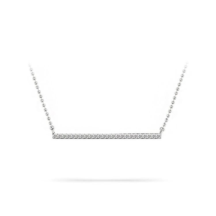 Single Row Bar Diamond Necklace In White Gold | 01