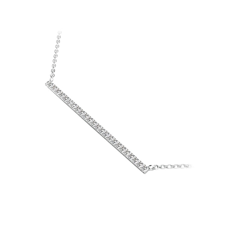 Single Row Bar Diamond Necklace In White Gold | 02